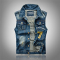 M/5Xl Mens Korean Denim Vests Embroidered Leisure Vests Male Spring And Autumn Plus Size Sleeveless Jeans Jacket Waistcoat J1303