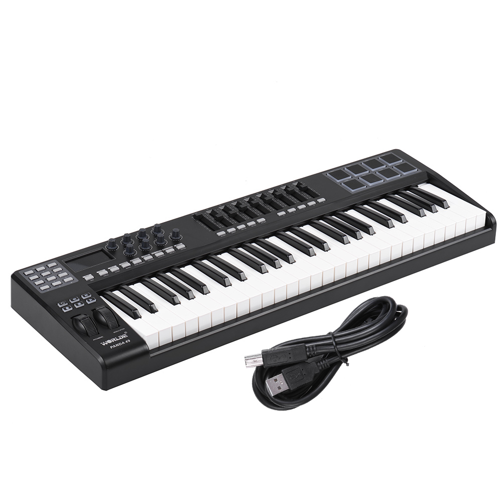 buy 49 key usb midi keyboard controller 8 drum pads with usb cable high quality. Black Bedroom Furniture Sets. Home Design Ideas