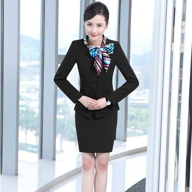 73ed064517434 Professionnel Automne Hiver Formelle Blazers Costumes Avec Vestes Et Jupe  Femmes D affaires Blazer Tenues