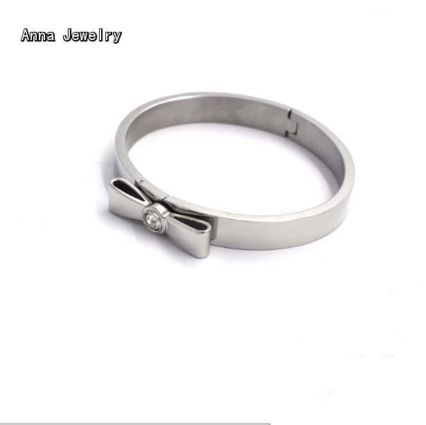 Us 9 88 New Elegant Designer Bow Bracelet White Gold Color Material With Charm Clear Stone Setting Women Favorite Cuff In