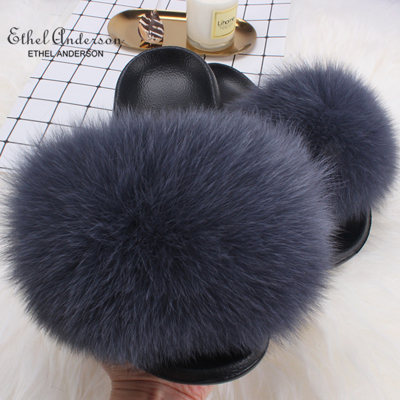Ethel Anderson Real Fox Fur Slippers Slides Fashion Summer Extra Large Flip Flop Fur Sandals Casual ShoesEthel Anderson Real Fox Fur Slippers Slides Fashion Summer Extra Large Flip Flop Fur Sandals Casual Shoes