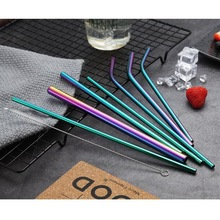 купить Reusable Metal Drinking Straws 304 Stainless Steel Sturdy Bent Straight Drinks Straw with Cleaning Brush Bar Party Accessory X дешево