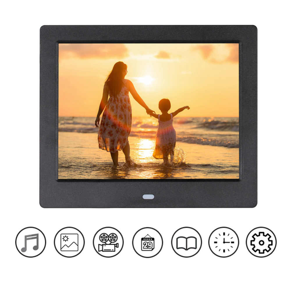 VODOOL 8 Inch Digital Photo Frame HD 1024x768 HD LED Display Playback Electronic Album Picture Movie Player Timing Alarm Clock