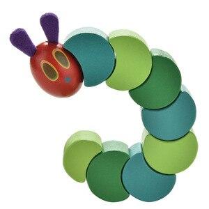 1 шт. деревянный блок детские пальцы гибкие блоки милые насекомые крутят очень Голодные гусеницы Детские игрушки Аниме
