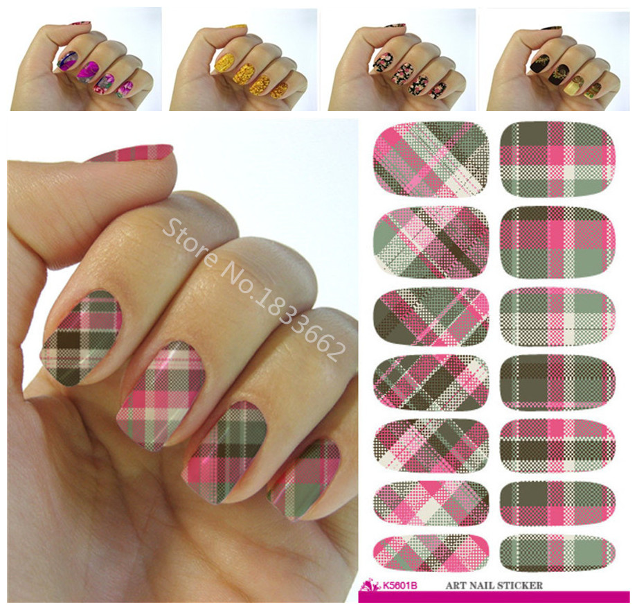 Stickers decals nail stickers nail art decals fashion - Fashionable Plaid Patterns Decorative Nail Decal Art Nail Stickers Decoration Simple Transfer Foil China