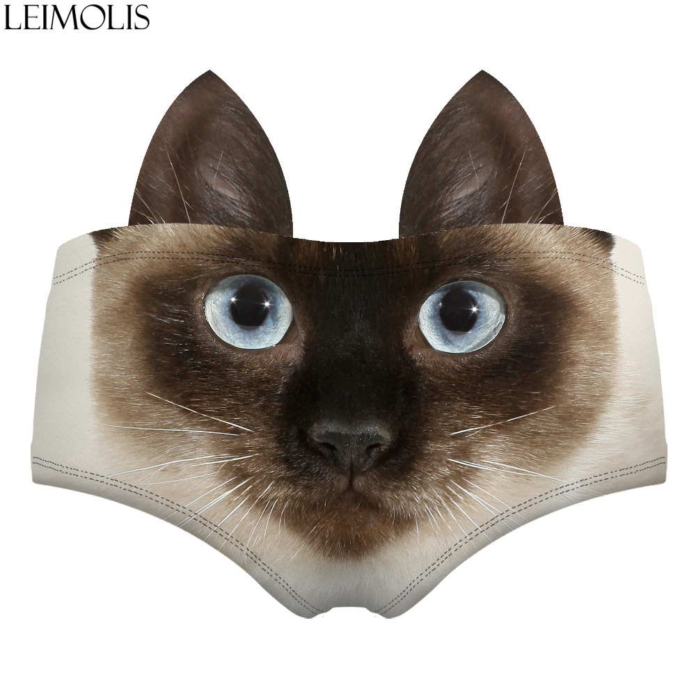 LEIMOLIS Siamese cat Animal funny print sexy hot ear panties female kawaii Lovely underwear push up briefs women lingerie thongs