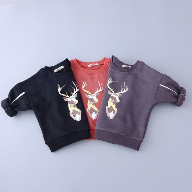 Baby Girl Мальчики зима осень плюс бархат покемон блузка оленей футболка толстовки одежда для девочек с длинным рукавом футболки для мальчиков топы
