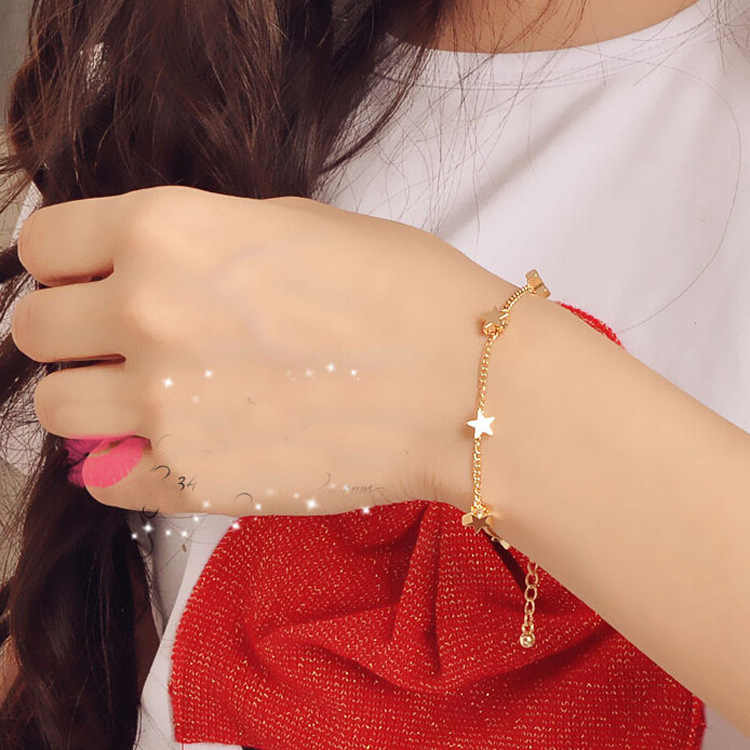 Kore Küçük Taze Bayanlar Moda Yıldız Kalp Kalp Bilezik Bilezik Beş Yıldız Takı Toptan Kadınlar Hediye