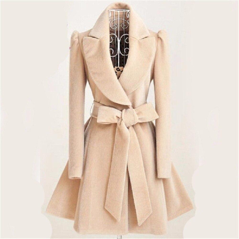 Fashion elegant long   trench   coat women slim female windbreaker outerwear winter abrigo mujer female coats manteau femme hiver