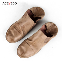 Acevedo summer casual shoes trend vintage british style genuine leather foot wrapping dawdler shoes flat men