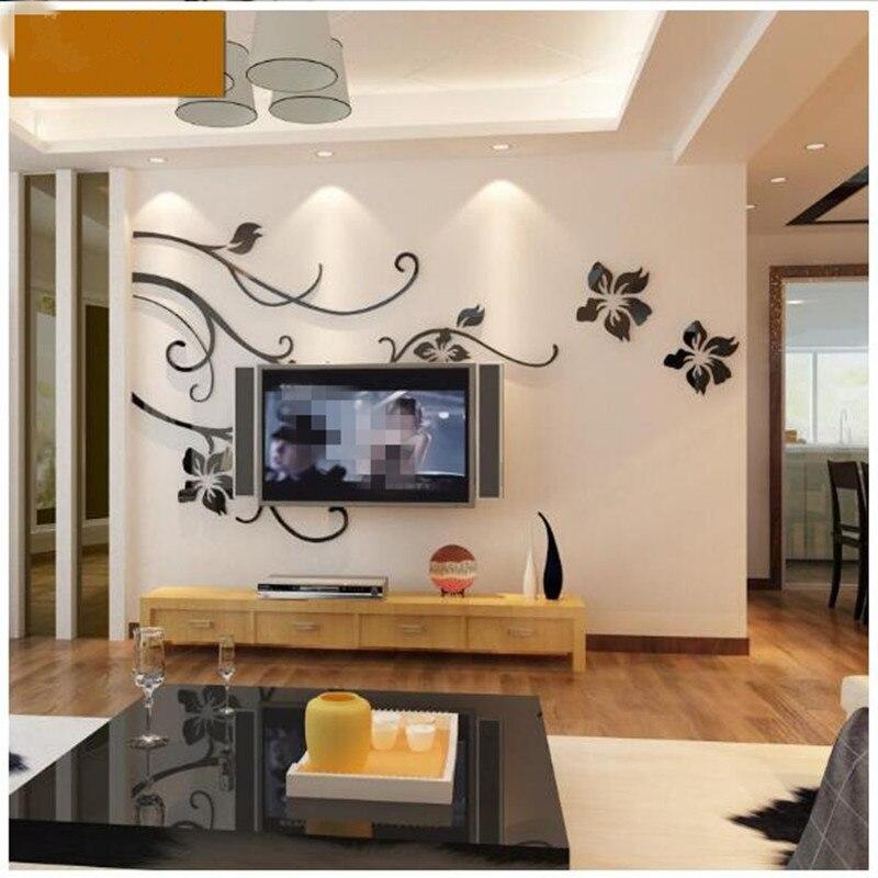 Гостиной спальня диван ТВ фоне стены акрил 3D трехмерные стикеры стены украшения стены комнаты