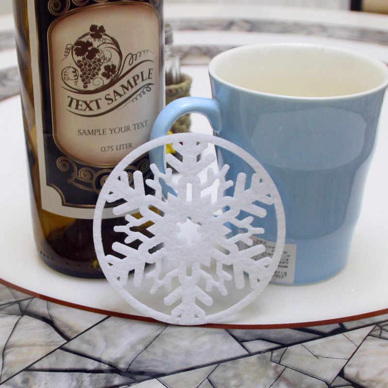 6 Pcs Buon Decorazioni di Natale Fiocchi di Neve Tazza Pad Zerbino Non-Tessuto Tessuto Del Partito di Pranzo Piatto Vassoio Del Caffè Pads per decorazione Tavola di Casa