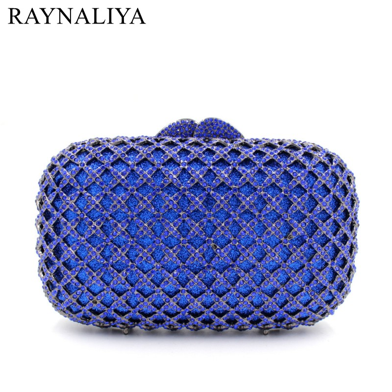 Fashion Crystal Clutch Evening Bag Colourful Diamonds Party Bags With Chain Lady Wedding Purses Women Hollow Bag Smyzh-f0097 luxury crystal women wedding clutch handbag evening bag floral beading party purses new designer smyzh e0271