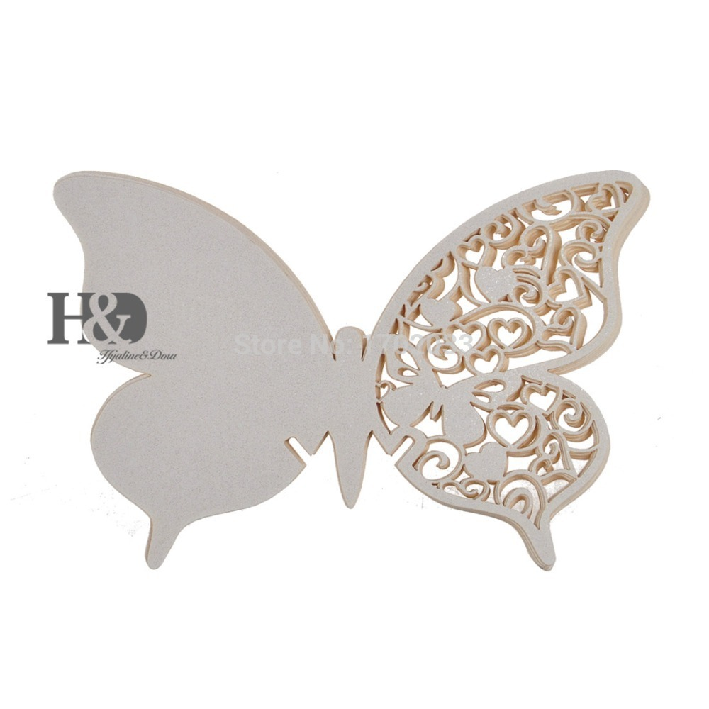 ᗑ120PCS Ivory Laser Cut Butterfly Wine Glass Place Cards Wedding ...
