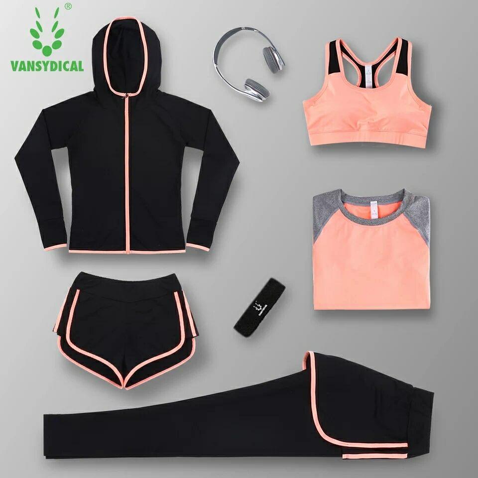 @1  Спортивная одежда для женщин Yoga Набор для бега с длинным рукавом Фитнес Quick Dry Спортивные костю ✔