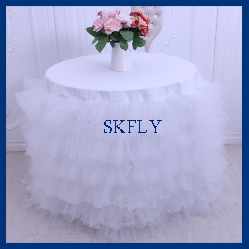 CL001C Beautiful round wedding white tulle cake table cloth with white burlap burlap