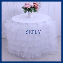 CL001C Schöne runde hochzeit weiß tüll kuchen tisch tuch mit weiß sackleinen sackleinen