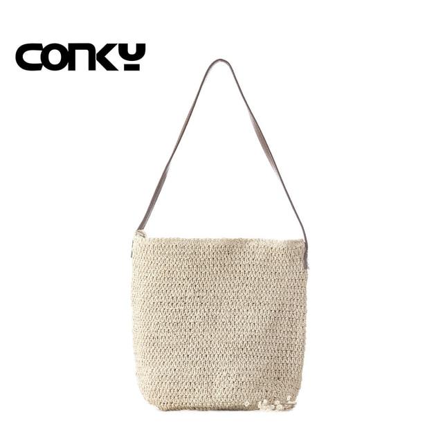 Knitted Straw bag Drawstring Beach Bags Women casual hollow shoulder bags linen Woven Stripe purse bucket bags