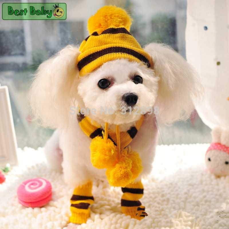 ... Winter Pet Puppy Accessories For Dogs Knitted Striped Hats Scarf Socks  Little Small Big Animals Yorkshire ... 30effea2ff72