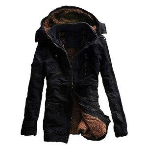 Image 4 - חורף מעיל גברים מזדמן לעבות כותנה חם גשם ארוך מעיל מעיל רוח Parka צמר מעילים בתוספת גודל 5XL מעיל צבא מעילים