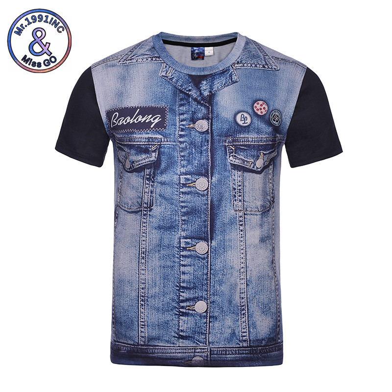 Men T-shirt 3D Fake Jeans Print Designed New Fashion Summer O-Neck T shirt Short Sleeve Tops Tees Plus Size M-4XL