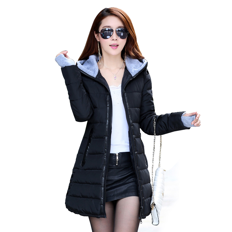 2018 Wadded Jacket Female New Women's Winter Jacket Cotton Jacket Slim   Parkas   Ladies Coat Plus Size M-XXXL CC276