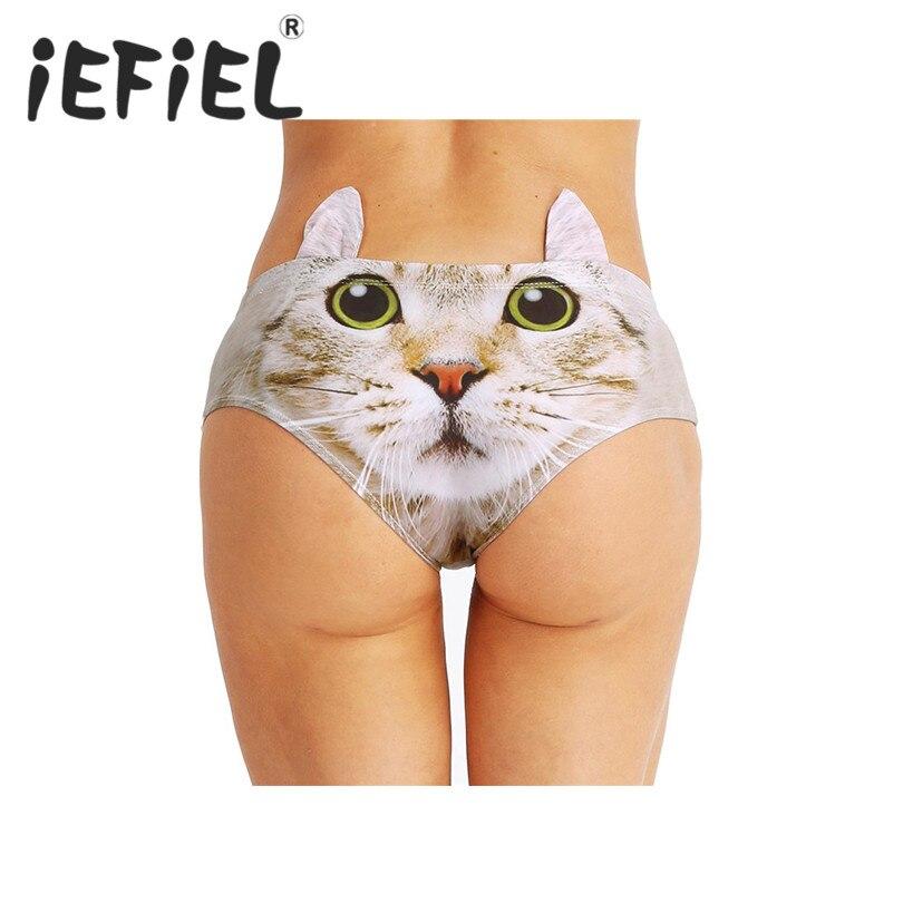iEFiEL New Arrival Women Low Waist Briefs Panties Cotton Funny Cartoon Ears 3D Printed Dog Animal Underwear for Women Lingerie