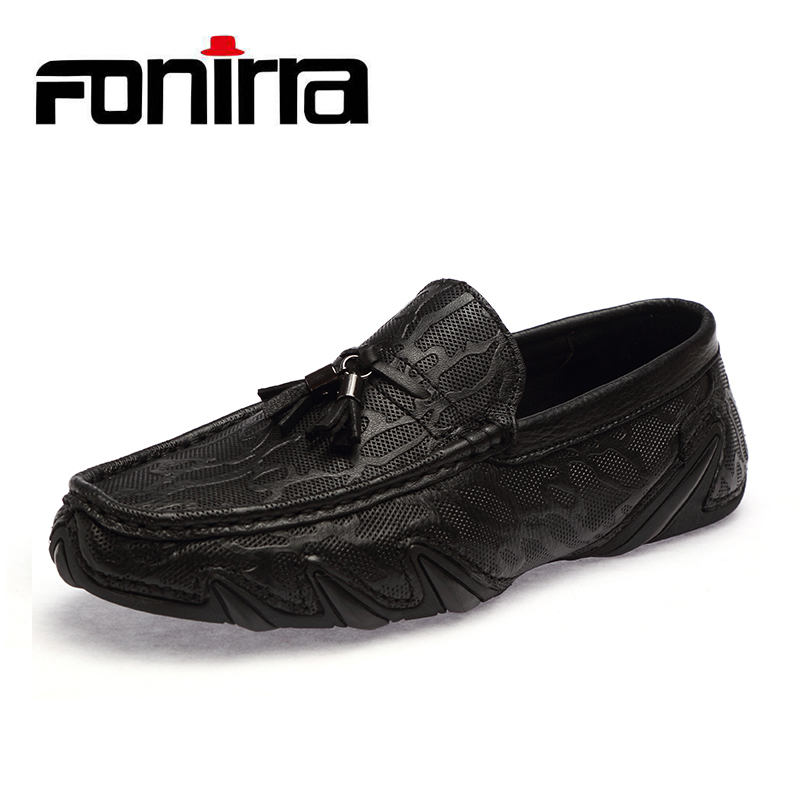 FONIRRA High Quality Genuine Leather Shoes Men Flats Men Slip On Moccasins Metal Driving Shoes Tassel Men Casual Shoes 753 dxkzmcm new men flats cow genuine leather slip on casual shoes men loafers moccasins sapatos men oxfords