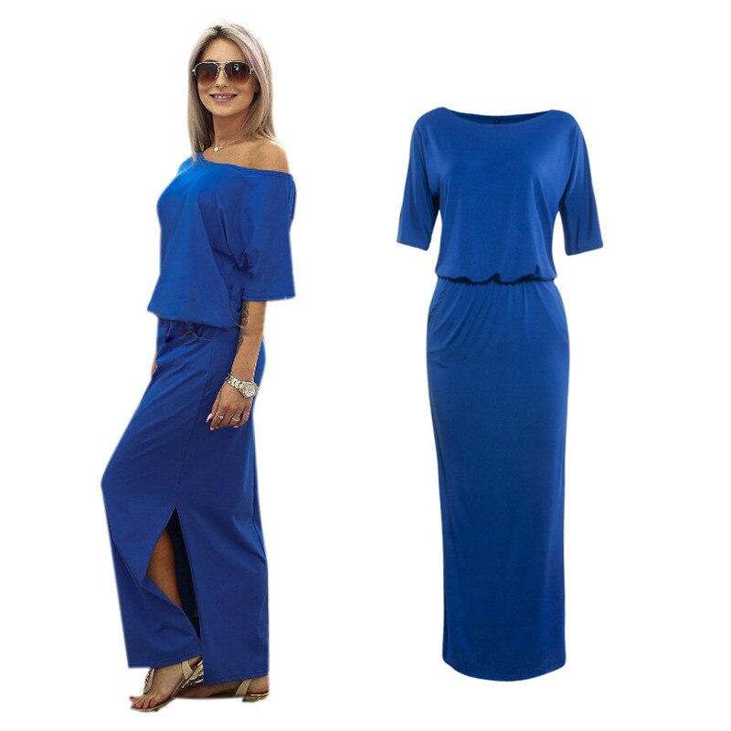 SHIBEVER Casual Loose Strapless women dress fashion sexy slash neck Side  slit Long maxi summer dress Ladies Hot sale NLD720 54b6d5ecbef6