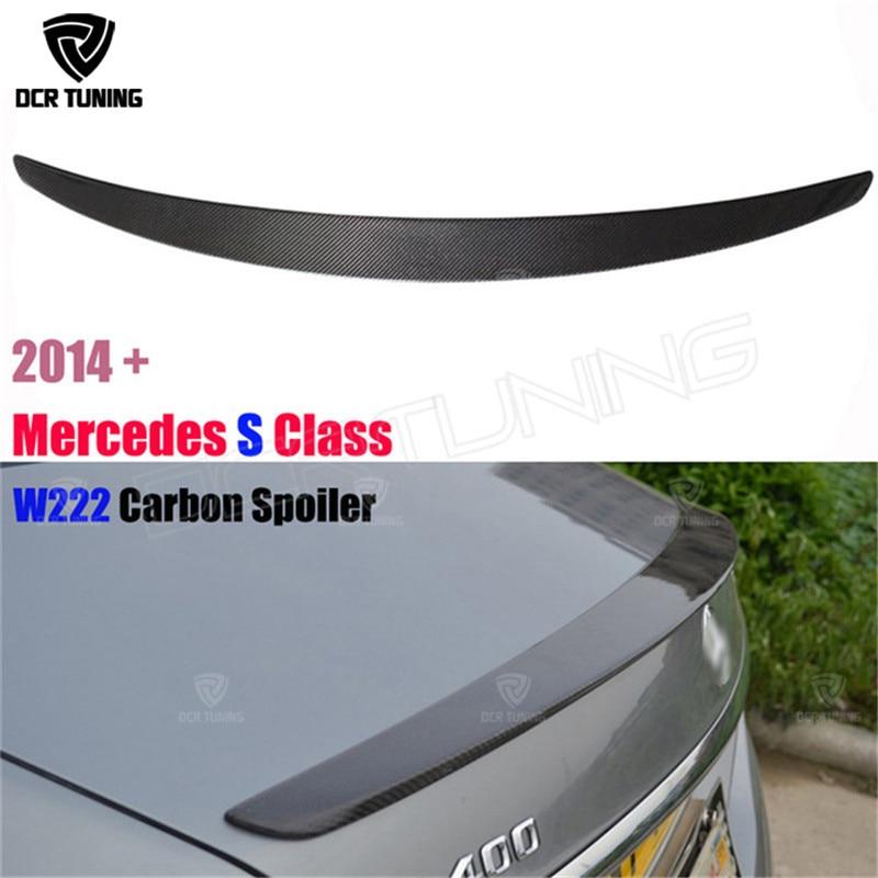 For Mercedes W222 Spoiler S Class S63 Carbon Fiber Rear Trunk Spoiler Wing S300 S350 S400 S500 S550 S63 4-door Sedan 2014 - UP for mercedes w213 spoiler e class 4 door sedan e200 e220 e250 e300 carbon fiber rear trunk spoiler wings e63 style 2016 up