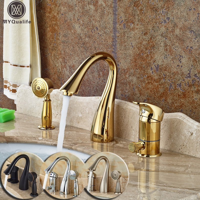 Deck Mounted Widespread 3pc Bathroom Bath Tub Mixer Faucet Brass Handshower Goose Neck Spout Bathroom Mixer Taps