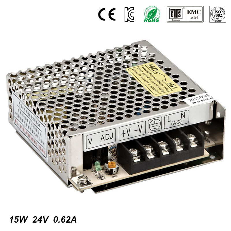 Best quality 24V 0.62A 15W Switching Power Supply Driver for LED Strip AC 100-240V Input to DC 24V free shipping best quality 5v 2a 10w switching power supply driver for led strip ac 100 240v input to dc 5v free shipping