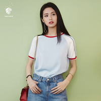 FANSILANEN 2017 Fashion Patchword Summer Spring Women Casual Blouse Shirts Feminine Blouses Clothing Chiffon Female Z71065