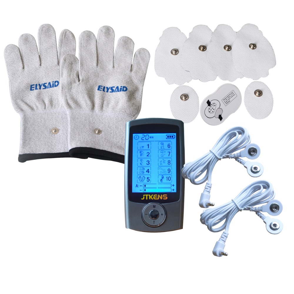 10Modes TENS Healthcare Muscle Stimulator Massager Relax and Relieve Pain+1Pr Physiotherapy Conducting Gloves xft 320a electrical stimulator tens healthcare physiotherapy pains relax smoothing electrical massager physiotherapy knee pads