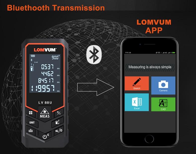 Laser Entfernungsmesser Cad : Lomvum bluetooth laser abstand meter usb aufladbare digitalen