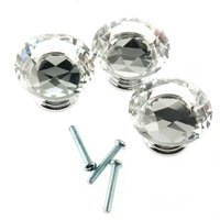 FSLH 10Pcs 40mm Crystal Glass Diamond Shape Cabinet Knob Drawer