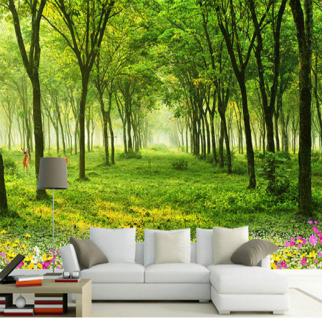 Woods Lined Road 3D Landscape Large Mural 3D Wallpaper Bedroom Living Room  TV Backdrop Painting Three