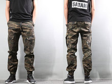 High Street Fashion Mens Jeans Army Jogger Pants Camouflage Military Elastic Waist Drawstring Zipper Ankle Banded Jeans Men 322 цена 2017