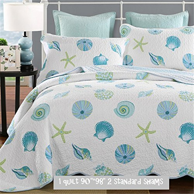 fadfay cotton nautical bedding set ocean printed bedding set queen size beach theme comforter sets bed - Nautical Bedding