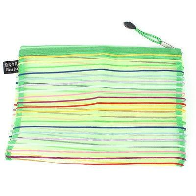 Zipper Closure Stripe Pattern Mesh Design File Pens Bag Green Yellow