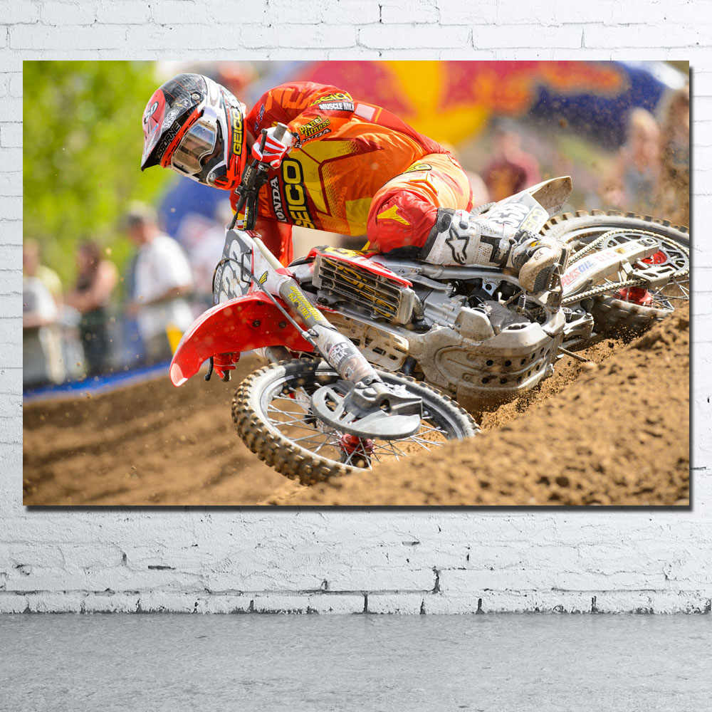Dirtbike Motocross Race Racing Motorbike Wallpaper Wall Art