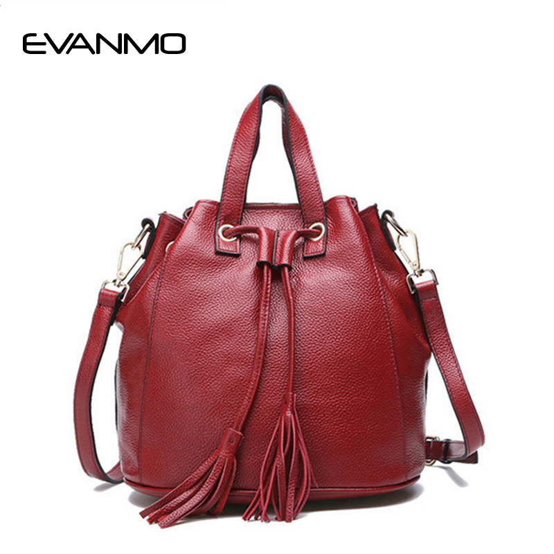 Super Quality Women Messenger Bags Bucket Ladies Retro Brand Genuine Leather Handbag Cross Body Bags Designer Tote Shoulder Bag new arrival lace bucket handbag ladies solid shoulder bags tote purse satchel bag cross body women messenger bags vintage 2016