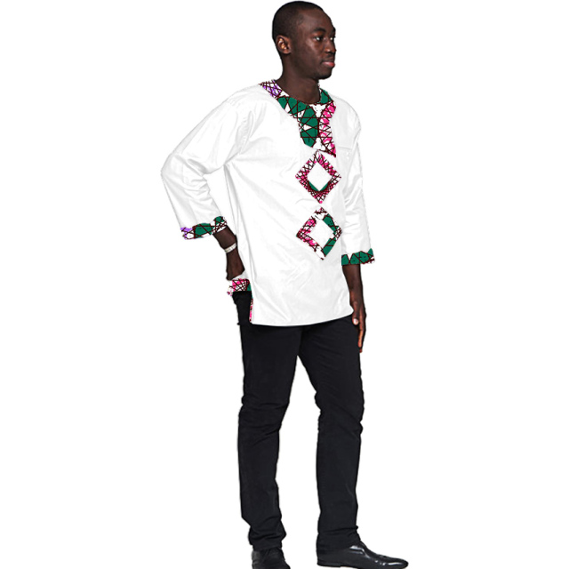 African print tops mens fashion black and african pattern patchwork design dashiki three quarter sleeve shirts