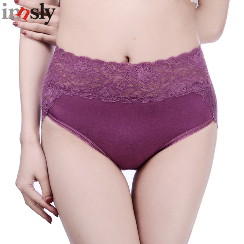 Innsly   Panties   Women Underwear Big Size Brand Modal Lace Embroidery Hollow Out Lingerie Daily Breathable High-Rise Female Briefs