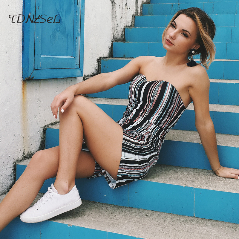 sexy ladies striped playsuits rompers sleeveless strapless backless women jumpsuits summer beach casual short overalls sundress