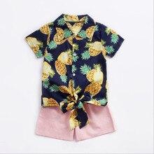 Детская одежда с принтом ананаса ремни Короткие-футболки с рукавами Шорты хлопка из двух частей сезон весна-лето детская одежда