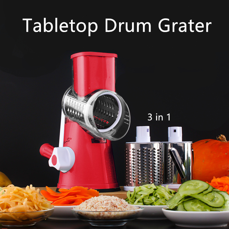 Manual Round Mandoline Vegetable Slicer Cutter Onion Potato Carrot Grater With 3 Chopper Blades Tabletop Drum Kitchen Gadgets