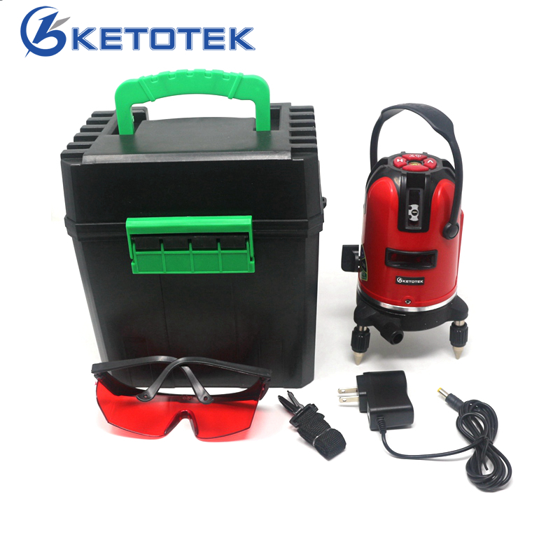 KETOTEK Laser Level 5 Lines 360 Degrees Rotary 532nm Self Leveling Vertical & Horizontal Cross Line Lazer Level Tools kacy al04 laser level 2 line rotary 360 leveling 1v1h horizontal and vertical cross lazer levels lines excluding tripod