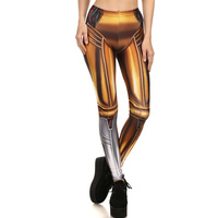 1707 Fitness Elastic Women Leggings Sexy Girl Polyester Slim Fit Workout Pants Trousers Star Wars Gold
