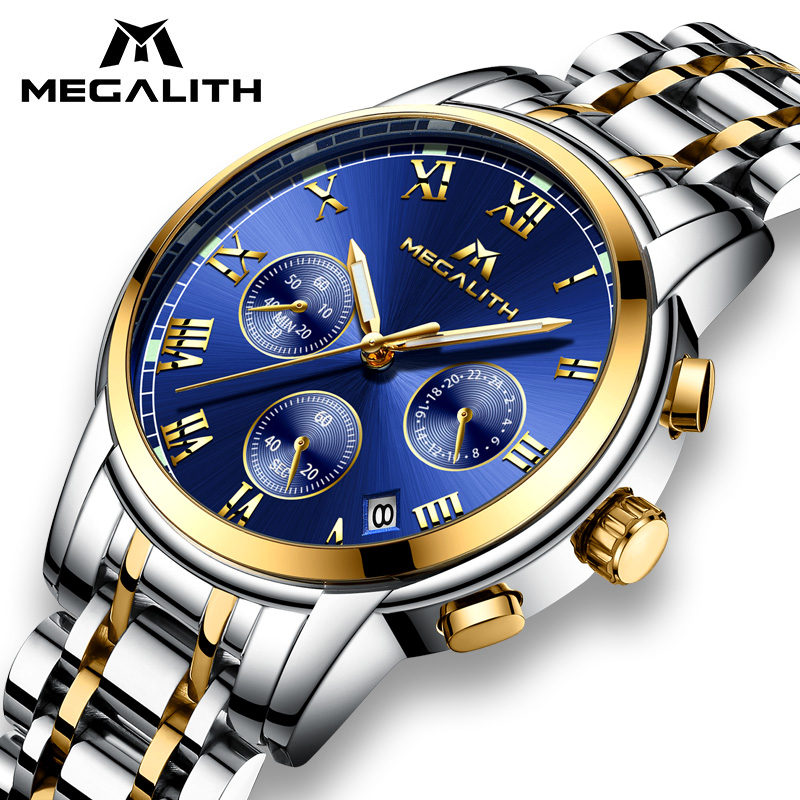 Megalito relojes hombres impermeable de acero inoxidable de lujo analógico relojes cronógrafo fecha deporte cuarzo relojes Montre Homme